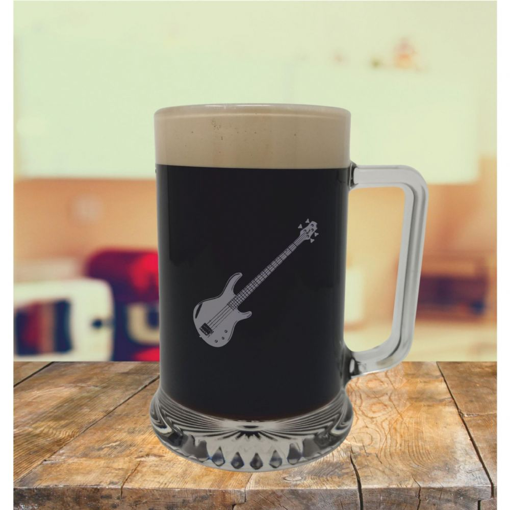 Glass Tankard With Bass Guitar Design, Engraved